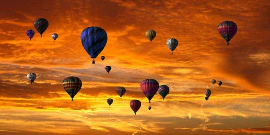 sunset in a hot air balloon