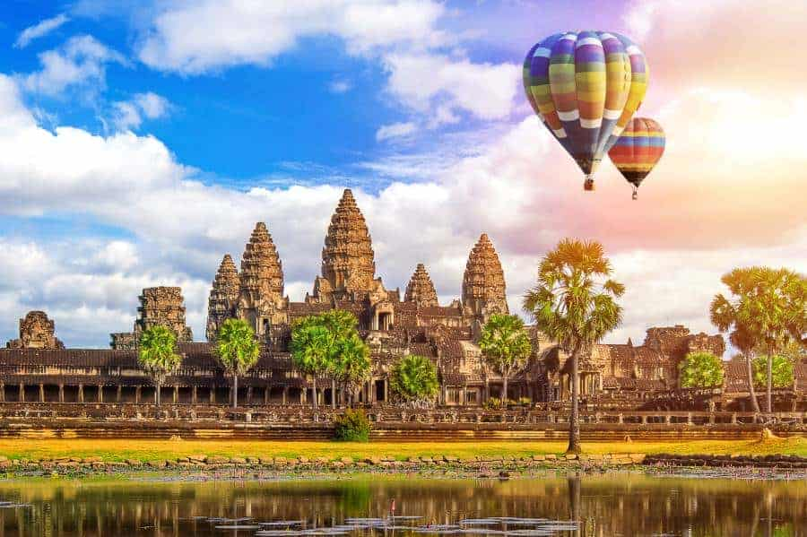 Angkor Wat Temple with balloon, Siem reap in Cambodia.