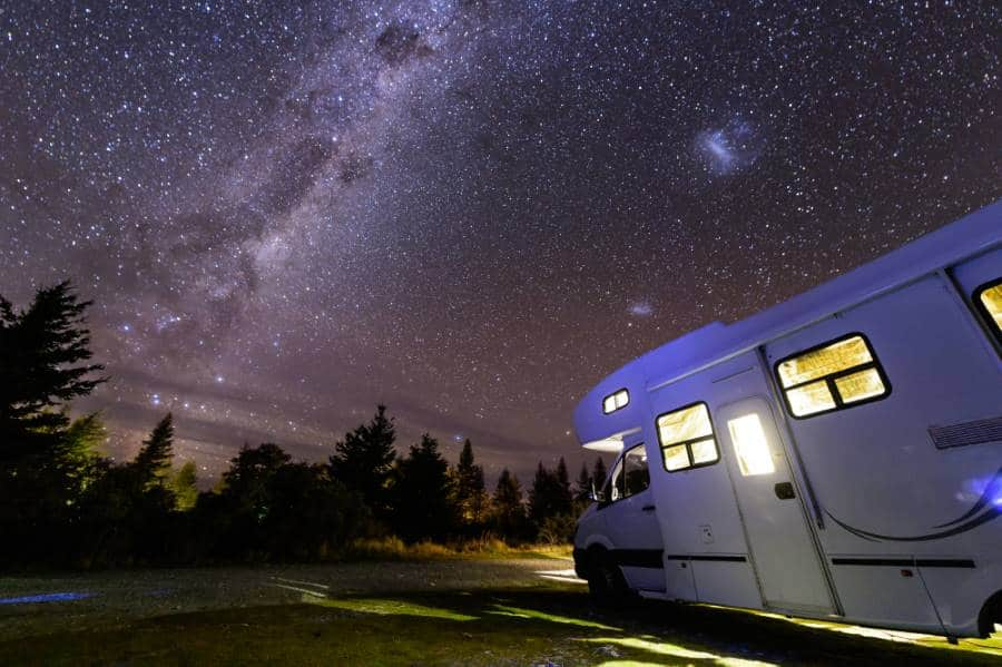 Motorhome under milky way new zealand