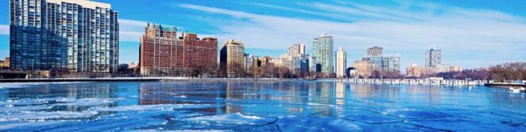 Frozen marina in Chicago. Chicago, Illinois, USA