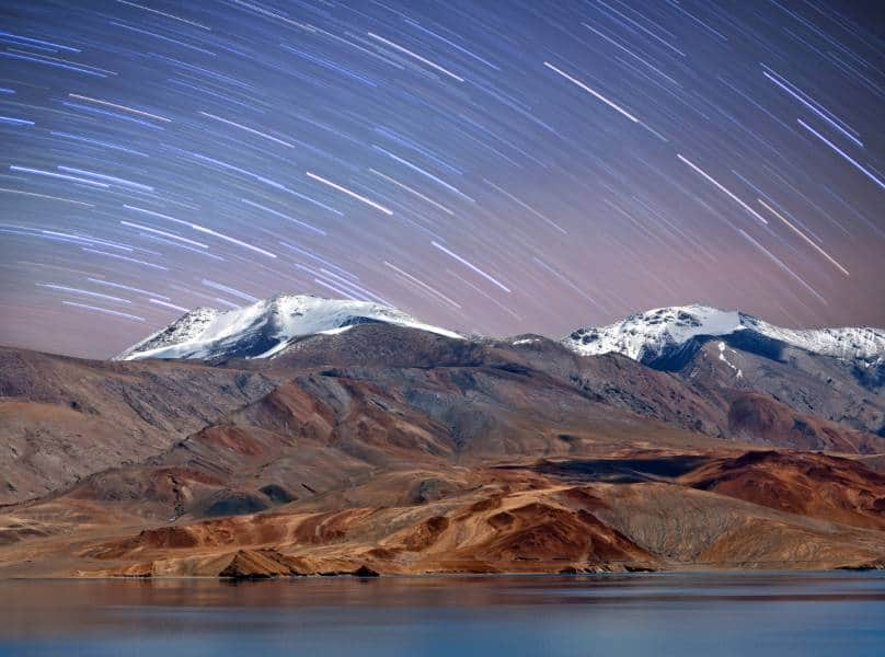 Panorama of Tso Moriri lake night view in Ladakh, Jammu and Kashmir, North India