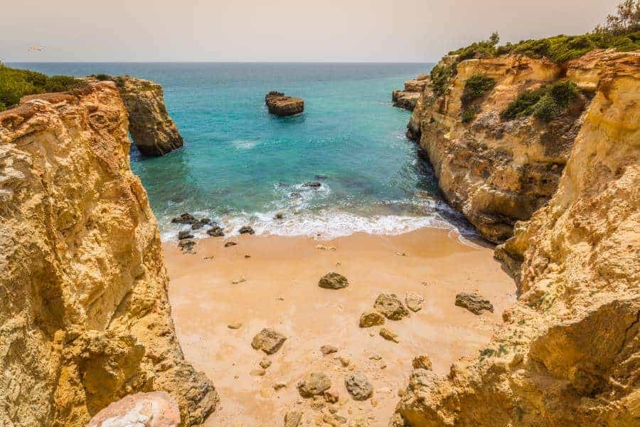 Praia de Albandeira - beautiful coast and beach of Algarve, Portugal