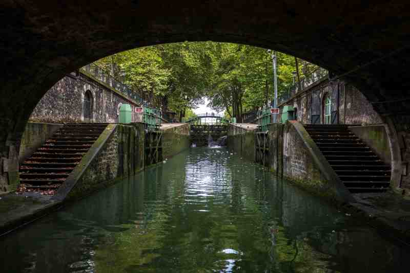 End of the tunnel and lock on the canal of Saint Martin, Paris