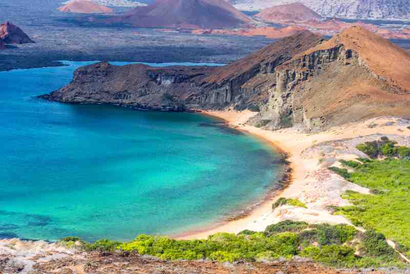 Beautiful beach on Bartolome Island in the Galapagos Islands
