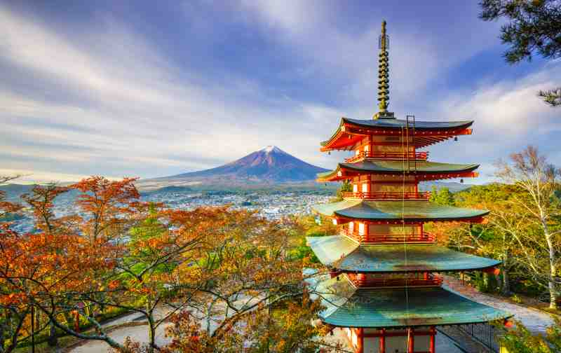 Mt. Fuji with Chureito Pagoda. Fujiyoshida, Japan