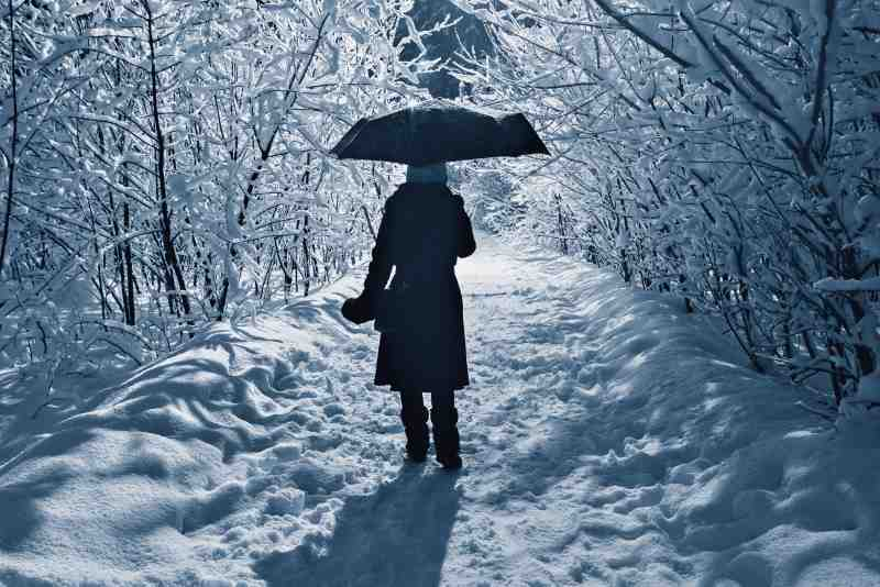 walking in the snow on a winters night