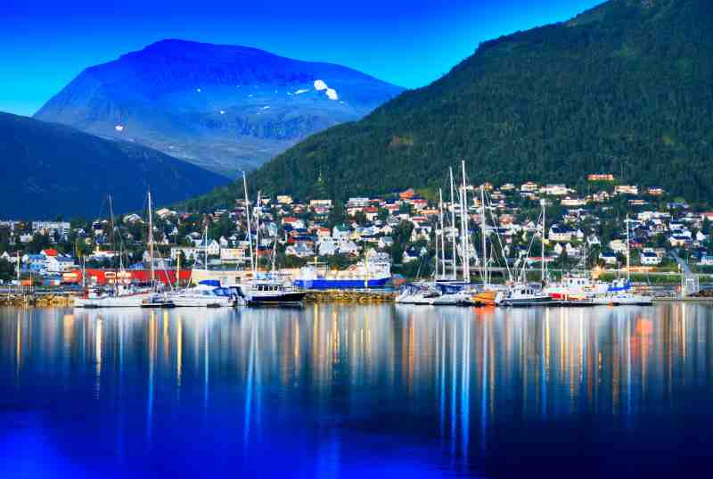 Tromso city with yachts
