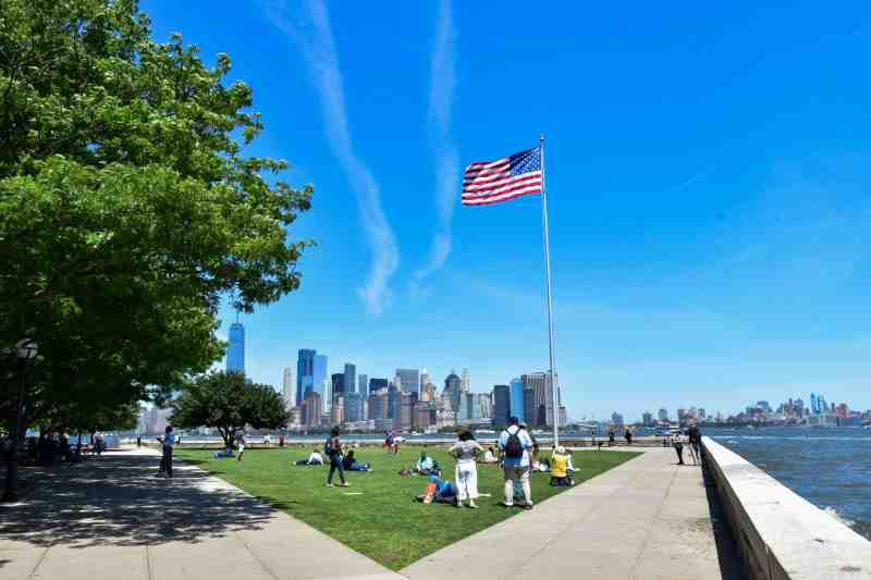 american flag on ellis island