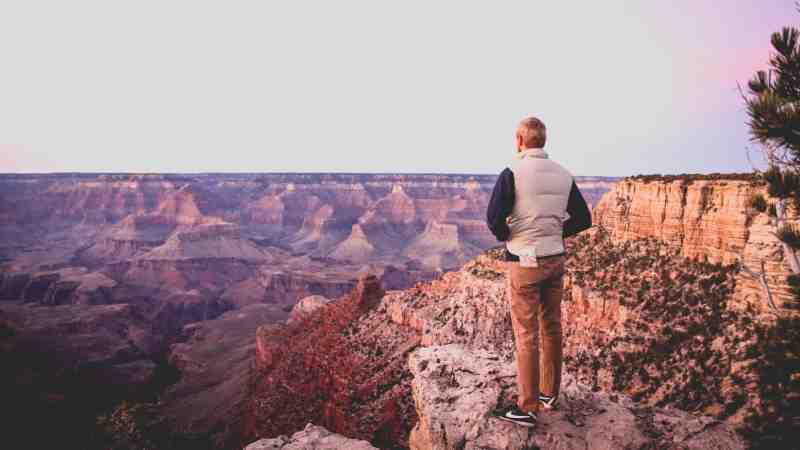 the grand canyon and hiker