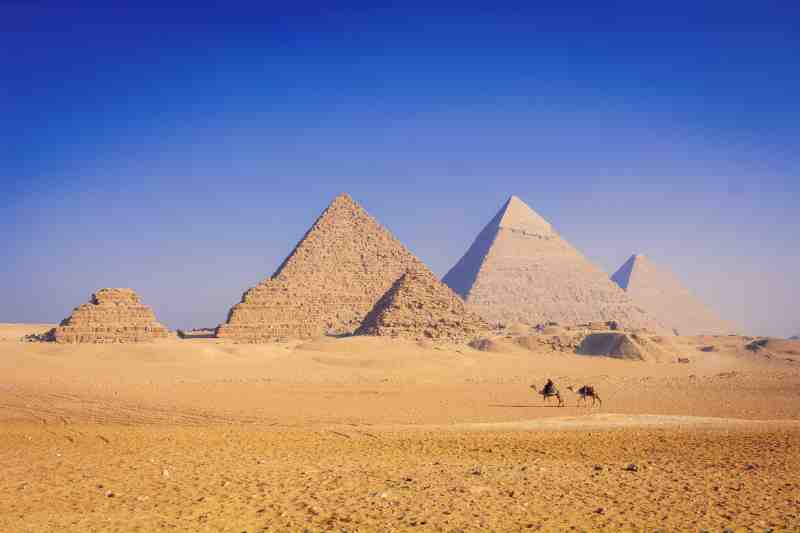 the pyramids of eygypt from afar