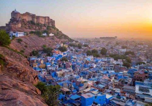 aerial view of jodhpur at dusk